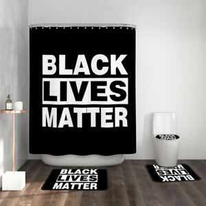 BLACK LIVES MATTER Bathroom Rug Set Shower Curtain Toilet Lid Cover Bath Mat