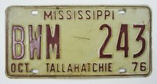 Vintage 1976 Mississippi License Plate Tallahatchie Single BWM243 Original