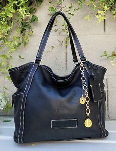 Dooney & Bourke LRG KRISTEN blk pebbled leather Tote Purse shoulder bag handbag