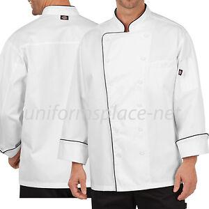 Dickies Chef Coat Mens Bruno Executive Chef Coat Long Sleeve DC103 White