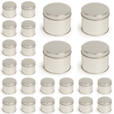 24x Round Silver Metal Tin 250ml Welded Seam Soy Wax candle Making Container