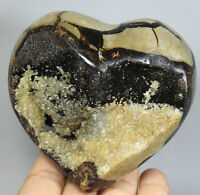 587g Natural Septarian Dragon Polished Heart Calcite Geode Crystal-Madagascar