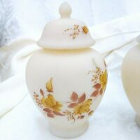 Vintage Fenton Hand Painted Cameo Satin Glass Ginger Jar Chocolate Roses Signed