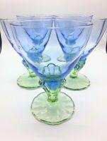 5 Bormioli Rocco Bahia Sherbet Blue and Green Stemmed Champagne Glasses