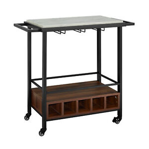 "34"" Black Marble Serving Bar Cart with Dark Walnut Base"