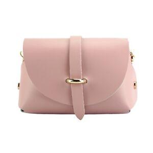 TJS Genuine Leather Mini Crossbody Handbag Clutch Purse Handmade in Italy Pink