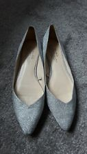 ZARA Woman Ladies Silver Metallic Glitter Flat Shoes