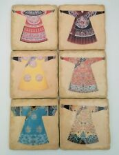 Vintage Traditional Asian Apparel Coasters-Set of 6