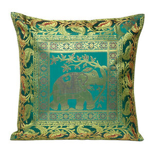 "Brocade Elephant Cushion Cover Throw Home Decor Handmade Silk Sofa Pillowcase16"""