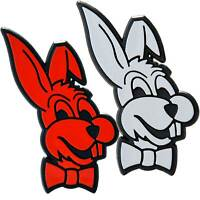 Zwei BUNNY Hasen + Fliege Set 2x Emblem 64 mm selbstklebend Hase Häschen Relief
