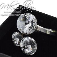 925 Sterling Silver  - RIVOLI RING - Crystals from Swarovski® - Adjustable