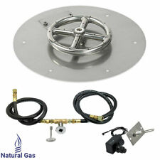 "American Fireglass 12"" Round Flat Fire Pit Kit with Spark Ignition Natural Gas"