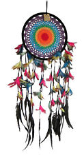 LARGE 107 cm long Crochet Jumbo Dream Catcher RAINBOW Feathers and Beads new