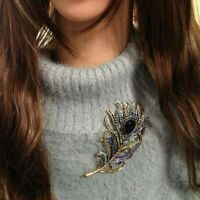 Women Retro Feather Brooch Pin Antique Crystal Rhinestone Jewelry Accessories~