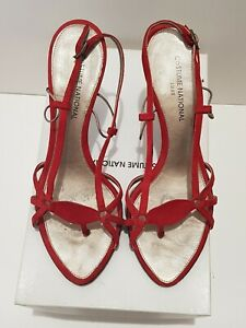 Costume National Red Suede Strappy Sandals, size 36