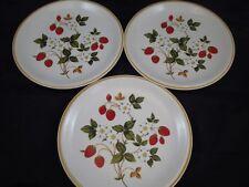 "Set 3 Sheffield Stoneware Strawberries n' Cream 10"" Dinner Plates Japan Vintage"