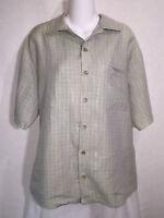FLAX by Jeanne Engelhart Green Linen Boxy Button Front Tunic Top Shirt Medium M