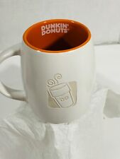 Dunkin' Donuts Ceramic Embossed Coffee Cup Mug - Orange inside, white 2012