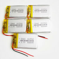 5 pcs 3.7V 600 mAh Lipo Polymer li ion Battery 602540 power for MP3 DVD GPS PAD