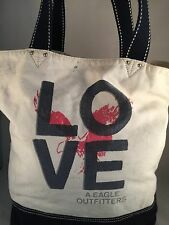 "AMERICAN EAGLE OUTFITTERS ~ LOVE ~ Large Shoppers Tote * 16"" X 6"" X 17"" sd 10"""