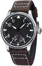 44mm Black Dial Luminous Dark Brown Leather Strap Wrist Watch Hand-wound