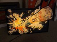 """Vintage Coors Silver Bullet Beer Lighted 3-D Embossed Sign 25"""" x 15 1/2"""" GAS OIL"""