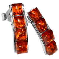 2.15g Authentic Baltic Amber 925 Sterling Silver Earrings Jewelry N-A5229
