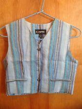 Classic Woman's Company Ellen Tracy Vest siize 6 Blue Stripes 100% Linen