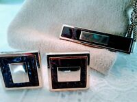 Vintage ANSON CUFF LINK/TIE BAR SET,  Leather Gold Tone, Brown