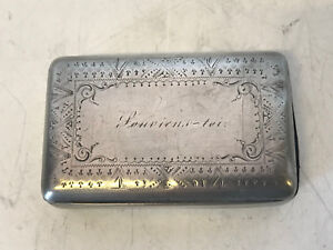 Antique Likely French Silver Pill / Snuff Box Souviens-toi Remember