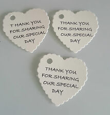 20 IVORY  HEART SHAPED THANK YOU FOR SHARING OUR  SPECIAL DAY WEDDING TAGS