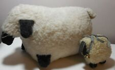 """Set faux wool wood sheep Unique 14"""" & 6"""" used pickers special unique decorations"""