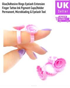 Individual Eyelash Glue Holder Grafting Eyelashes Quick Blossom Ring Cup Pink UK