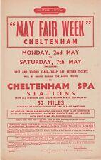 """British Railways handbill Cheltenham """"MAY FAIR WEEK"""" 1960"""