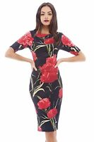 Floral Business Party Formal Office Plus Size Bodycon Pencil Casual Work Dress
