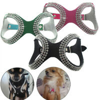 Crystal Bling Rhinestone Dog Collar Pet Puppy Small M Large Harness Neck Strap