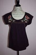 NWT Womens Anthropologie Deep Purple Embroidered Blouse Top Size Medium