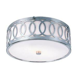 "Trans Globe 10"" Balboa 3 Light Flushmount, Polished Chrome"