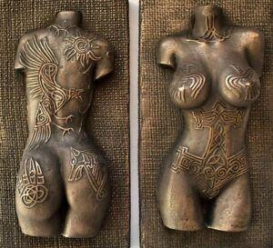 Viking Norse Female Valkyrie Nude Erotic Torso Tattoo Bronze Wall Art Sculpture