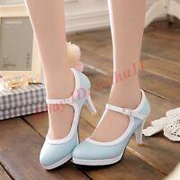 Fashion Womens Sweet High Heel Round Toe Platform Lolita Ankle Strap Pumps Shoes