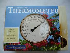 """CONANT CUSTOM BRASS THERMOMETER 4.5""""  DIAL DIAMETER BRASS BRACKET AND BACKING"""
