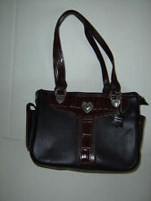 GENUINE LEATHER UNBRANDED COLLECTION BLACK PURSE RICH BROWN TRIM CLOTH LINING