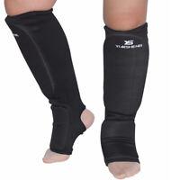 Taekwondo Karate MMA Shin Instep Protector Leg Foot Guard Cloth Pad S, Black