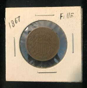 1867 Shield 2 cent coin