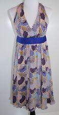 Betsey Johnson Dress Floral Vintage Black Label Lined Floral Belt Blue 6 Silk