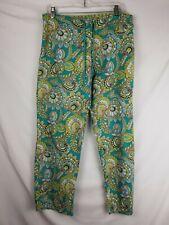 Vera Bradley Womens Cotton PJ Pajama Pants Size Medium  Green Paisley