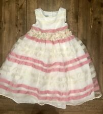 Girls 4T White Party Dress With Pink Stripes & Flowers