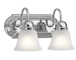 Kichler Lighting 5336CH 2-Light 100 watt Alabaster swirl glass
