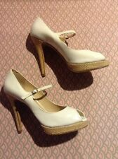 """Boutique 9"" White Patent Leather Straw Platform Heel Mary Jane Pumps Sz 9M"