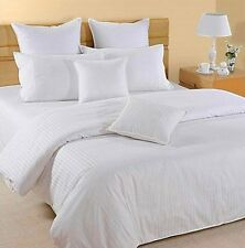 BOUTIQUE STRIPE 800 Thread Egyptian Cotton Super King Bed Size Duvet Cover WHITE